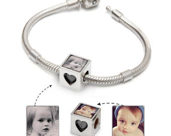 Photo bracelet for women & girls - Custom photo charm bracelet with love heart | Handmade in the UK | Pandora Compatible
