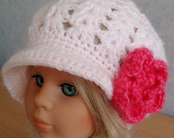 Girls or Womens Pink Crocheted Slouchy Newsboy Hat with Large Flower