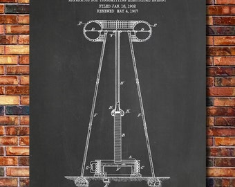 Tesla Coil Patent Print Art 1914