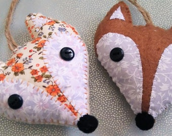 Fox Face Hanging Decoration, Woodland Animal Decoration, Hand Embroidered using felt and fabric