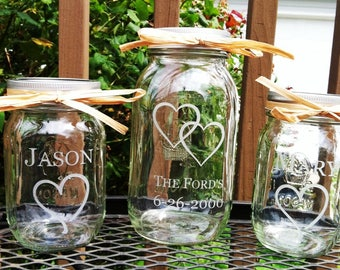3 Piece Personalized Mason Jar Sand Ceremony set  Wedding Ceremony  Names 1 Large Jar 2 small Jars with hearts Etched Glass Engraved
