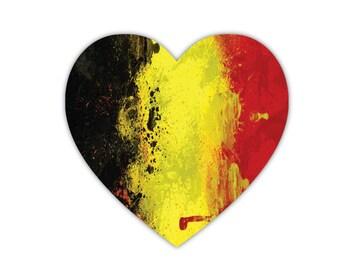 "Belgium Flag Heart Shaped Car Magnet 5"""