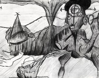 Eruptions Of Self Consciousness death of the third eye surreal drawing Prints