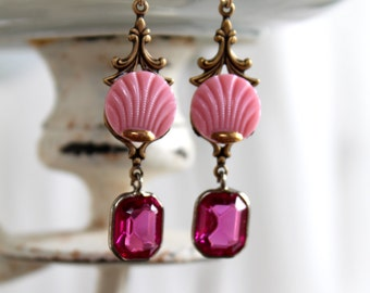 Czech glass scallop shell Button Earrings pink gold antique Czech oldnouveau deep rose glass crystal connector beads vintage assemblage