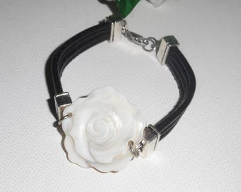 Leather multi strand with mother of Pearl flower bracelet