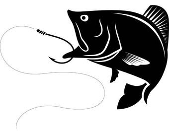 Bass Fishing #2 Logo Angling Fish Hook Fresh Water Hunting Largemouth Smallmouth Striped .SVG .EPS .PNG Clipart Vector Cricut Cut Cutting