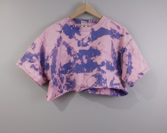 Crop Top Shirt Bleached Distressed Cropped Pink and Purple Hippie Festival