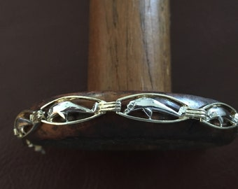 Sterling silver and vermilion dolphin bracelet