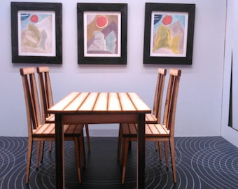 Modern dining table with 4 chairs, IKEA inspired, natural wood colour 1/12 miniature for dollhouses