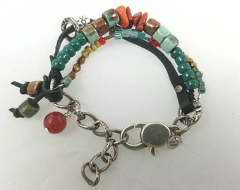 Unisex Multi Strand Copper Leather Bracelet silver beads ceramic beads glass beads orange coral green beads red beads lobster clasp chain