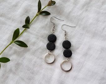 earrings - lava stone