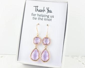 Long Lavender Gold Teardrop Earrings, Gold Lavender Earrings, June Birthstone Gold Earrings, Bridesmaid Jewelry, Lavender Wedding Jewelry