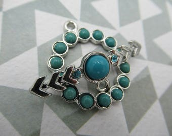 Turquoise & Silver Toggle Clasp - Arrow Bar with Rhinestones - 24mm - Qty 1 Clasp *NEW ITEM*
