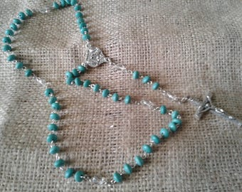 Turquoise and crystal Rosary