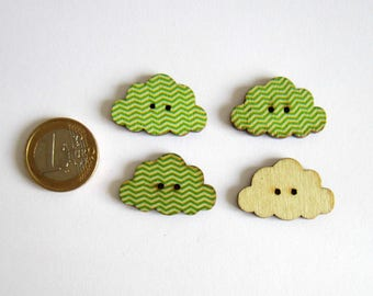 4 buttons 2 holes green Chevron pattern flat clouds