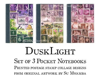 Set of 3 Notebooks, Dusky Purple Postage Stamp Print - Boho Stationery