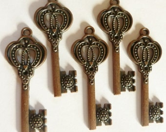 5 pcs. - Key Charms - Steampunk Charms - Skeleton Key - Key Dangles - Metal Key Charms - Bronze - Steampunk Findings - Key to My Heart