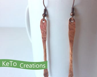 Hand-Forged Hand-Hammered Copper Earrings