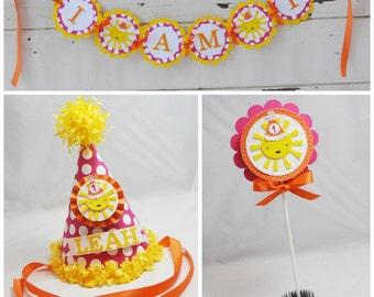 Girl Sunshine Smash Cake Photo Props- Set of 3- 1st Birthday- Personalized