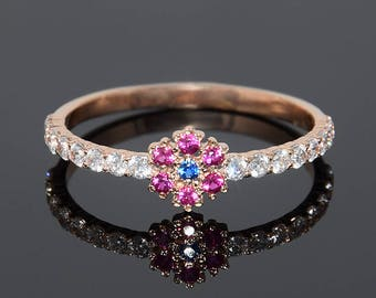 Dainty engagement ring, Flower engagement ring, Sapphire engagement ring, Ruby engagement ring, Sapphire ring gold, Ruby ring gold