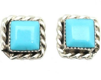 Square Turquoise Post Earrings