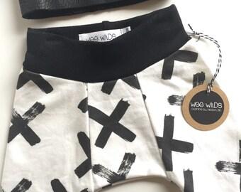 Organic Cotton Baby Pant, White X Print