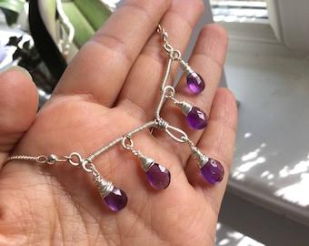 Amethyst chandelier statement necklace