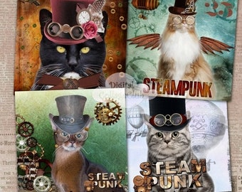 80% OFF Summer Sale Steampunk Cat Digital Coaster 4 x 4 inches Large Images for Card Making, Journaling, Decoupage, ATC, Digital Collage She