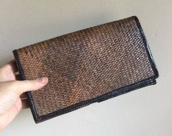 Vintage Woven Leather Wallet Clutch • Large Wallet Clutch