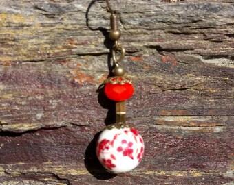 Earrings Goda goda beads bronze faceted Red