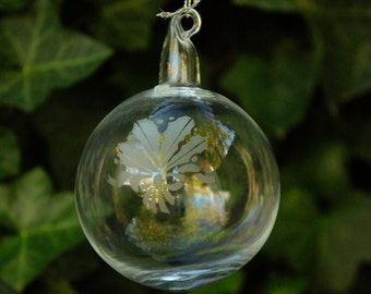 Vintage 80s-90s Etched Glass Christmas Ball Ornament