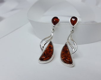 Modern Amber Earrings, Baltic Amber Earrings, Dangle Amber Earrings, Amber Jewellery, Baltic Amber, Earrings Gift For Her Gemstone Earrings,