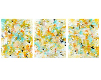 Original Triptych Abstract Expressionist Paintings, Modern Home Decor, Contemporary Wall Art, Set of 3 acrylic on 16x20 canvases