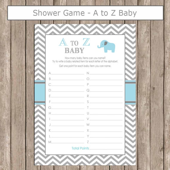 Items similar to Elephant Baby Shower A to Z Baby Game in ...