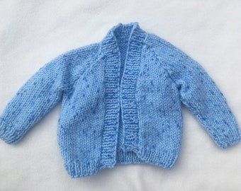 Light blue baby hand-knit cardigan