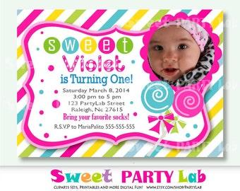 Printable CandyLandInvitation ,Candyland Photo Invitation, Birthday Invite,   Event Invite-D013