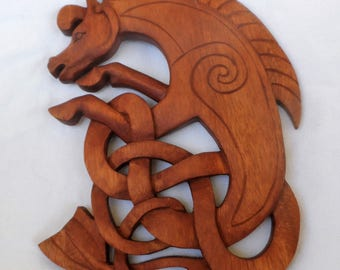 Celtic horse wood carving (#clthrs10)