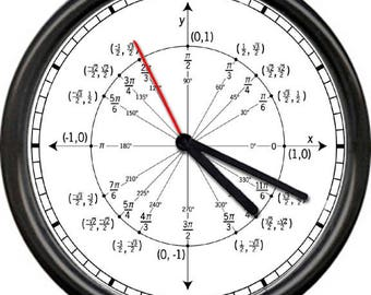 Math Teacher Trigonometry Geometry Unit Circle Radian Labeled Angles Values Wall Clock