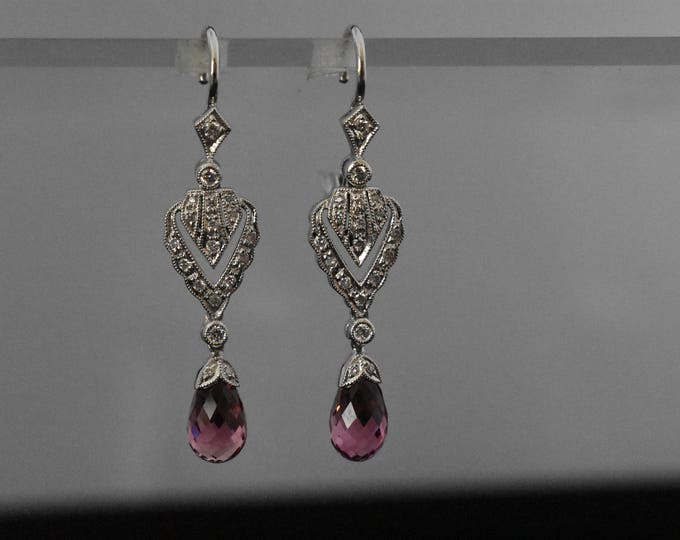 18K White Gold Briolette Tourmaline Earrings