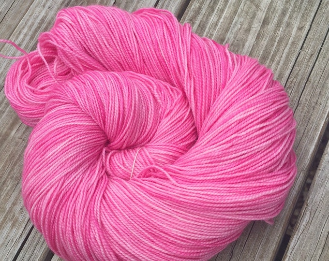 hand dyed sock weight yarn Damsel in Distress Pink Shawl Length Skein Superwash Merino Cashmere MCN 600 yards fingering bubblegum handdyed