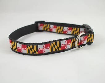 Maryland flag dog collar, Maryland collar,  martingale Dog collar, Buckle dog collar gifts,  dog collar, pet accessory, pet gifts