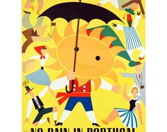 Portugal Travel Poster - Vintage Travel Print Art - Home Decor - No Rain In Portugal But Tourists Pour In - Umbrella