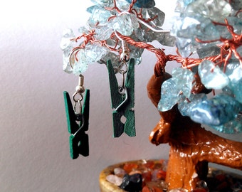 Green Clothespin Earrings