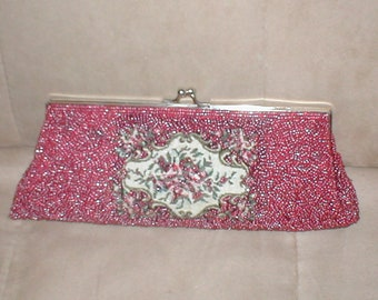 Vintage CRANBERRY color Beaded Tapestry Evening Purse