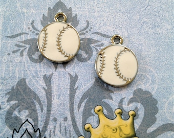 Enameled/Painted/Colored Baseball Charms --4 pieces-(Nickel Plated)--style 915-