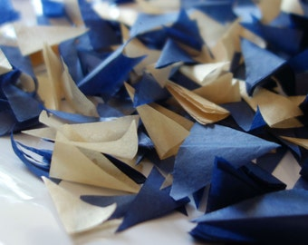 PUFFetti NOTRE DAME Four (4) Bags Triangle Scrap Handmade Recycled Confetti Birthday Favor Midnight Blue & GOLD Starry Night Wedding Theme