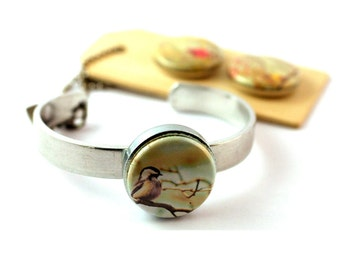 Bird on Branch Bracelet, Bangle Bracelet, Stackable Bracelet, Magnetic, 3 in 1, Bird Photography Jewelry, Gift for Her, Personalized