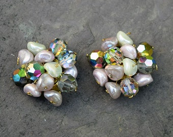 Faux Pearl and Austria Crystal Cluster Vintage Earrings
