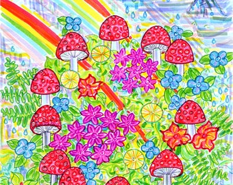 Greeting Card, Mushroom Magical, Cosmic Rainbow Forest, Psychedelic, Nature Flower Fairy Circle, Fungi Amanita Muscaria, made in California