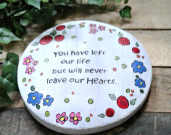 Memorial Stepping Stone / garden stepping stone / memorial gift / handmade cement stepping stone / gift for her / gift for him / hearts